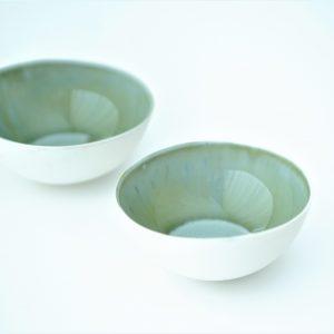 Ceramic bowl, porcelain elegant green and blu effect – READY TO SHIP