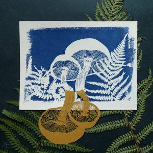 Cyanotype – Champignons dans les fougères