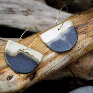 Ceramic Earrings | Half moon copper hoops