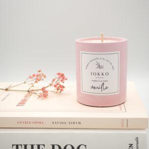 Bougie Céleste – bougie à la cire de soja, pot en béton rose