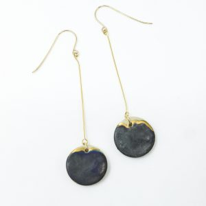 Ceramic Earrings | Drop copper dangles