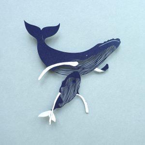 Bébé baleine et sa maman, papier découpé