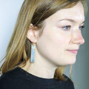 Ceramic Earrings | Seascape Rectangle Drop hoops