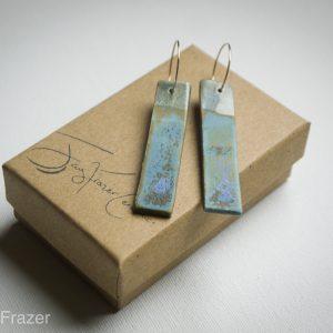 Ceramic Earrings | Seascape Triangle Drop hoops
