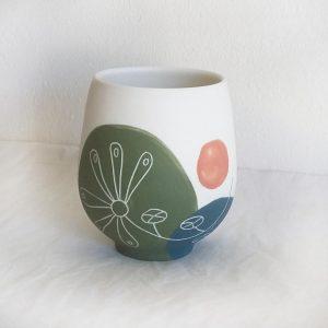 Tasse en porcelaine, herbes folles