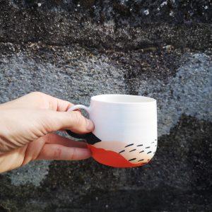 Tasse à café paysages oranges