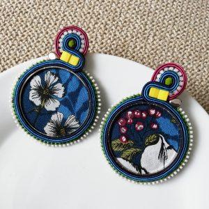 Boucles d'Oreilles Créole textile fleur #1