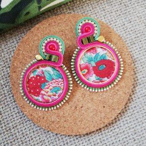 Boucles d'Oreilles Créole textile fleur #2