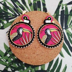 Boucles d'Oreilles Créole textile toucan #1