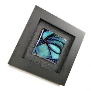 Tableau en émail, Grisaille à l'aiguille- Turquoise