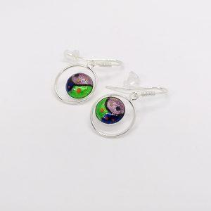 Boucles d'oreilles en émail sublimées à la feuille d'argent, collection «Colors» – Mauve, vert, bleu nuit