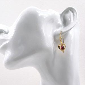 Boucles d'oreilles en émail sublimées à la feuille d'argent» cœur rosé» en Argent plaqué Or