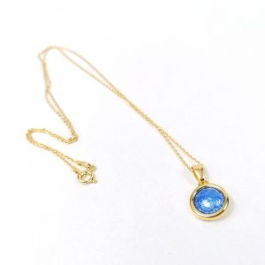 Collier en émail sublimé à la feuille d'argent – bleu lavande–Argent plaqué or 18 carats