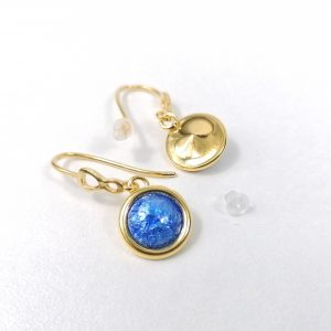 Boucles d'oreilles en émail sublimées à la feuille d'argent bleu lavande – Argent plaqué Or