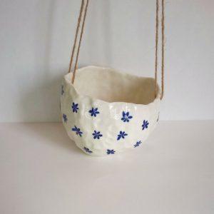 Pot Suspendu Fleurs Bleues