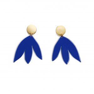 Boucles d'Oreilles SUSANA Bleu Klein + Or