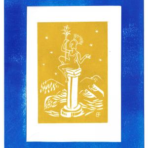 Linogravure «La Muse » jaune avec cadre bleu