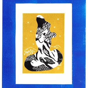 Linogravure «La Sirène » noir avec cadre bleu