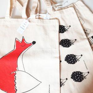 Tote bags en coton bio, assortiment de 3, renard, hérissons et poissons