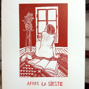 Linogravure «Après la sieste»