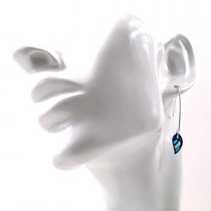 Boucles d'oreilles «Petite Feuille Plume » en émail «Plique à Jour» sur Argent.