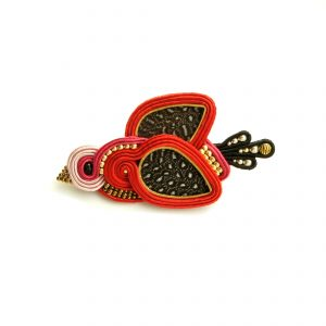 Broche Oiseau rouge brodé main