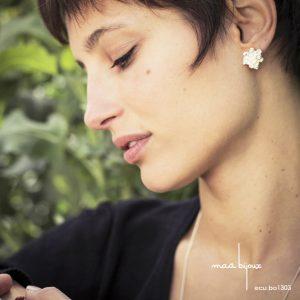 Boucles d'oreille en argent massif recyclé, Forme organique Inspiré par la nature