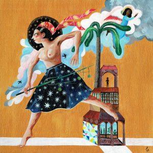 'Femme qui court avec les nuages' estampe fine art