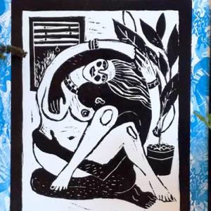 Linogravure «La sieste»