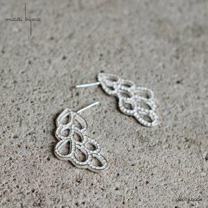 Boucles d'oreilles pendantes posées sur la tranche de l'oreille en argent massif recyclé