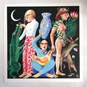 'Mon ami le crocodile' estampe fine art