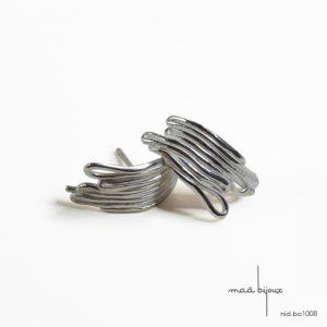 Boucle oreille fil courbe en argent massif 925 recyclé