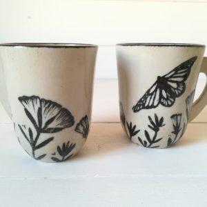 Lot de 2 Tasses papillon