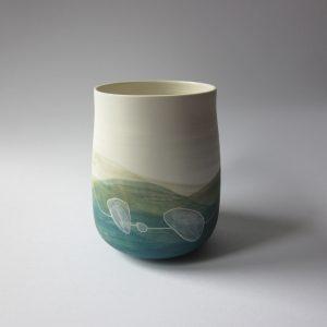 Vase «paysage bleu-vert»